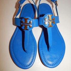 New Tory Burch 7.5 M Galleria Blue Bryce Sandals
